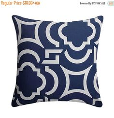 HUGE SALE Geometric Pillow Cover - Navy Pillow Cover - Modern Outdoor Throw Pillow - Zippered Outdoor Patio Pillow - Carmody Navy Outdoor Th