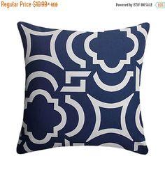 HUGE SALE Geometric Pillow Cover - Navy Pillow Cover - Modern Outdoor Throw Pillow - Zippered Outdoor Patio Pillow - Carmody Navy Outdoor Th