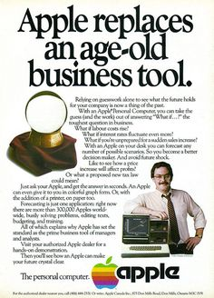 1982 Vintage Ad: Apple replaces an age-old business tool. Torontoist post about this ad: torontoist.com/2010/10/vintage_toronto_ads_apple_picking.php Source: Quest, June/July/August 1982