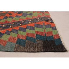 Bloomsbury Market Handmade in central Turkey by Sarkisla tribal weavers, these flatwoven rugs are strong in design and hardwearing in construction. Kid Bathroom Decor, Bathroom Paint Colors, Secondary Color, Primary Colors, Orange Pattern, Dark Red, Dark Navy, Colorful Rugs, Handmade Rugs