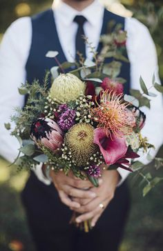 Swallows Nest Farm: Early Autumn Wedding in the Huon Valley Red Bouquet Wedding, Bride Bouquets, Floral Wedding, Wedding Flowers, Wedding Plants, Boho Wedding, Protea Bouquet, Australian Native Flowers, Fall Flowers
