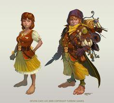 Halfling female traveler dagger backbag hooded leather armor dress