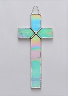 and Light Green FREE U.S Stained Glass Crosses in Pink Iridescent White Light Blue SHIPPING