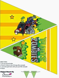 Plants vs Zombies: Free Printable Cupcake Toppers and Wrappers. Plants Vs Zombies, Zombies Vs, Zombie Birthday Parties, Zombie Party, Boy Birthday, Birthday Ideas, Video Game Party, Party Kit, Plantas Versus Zombies