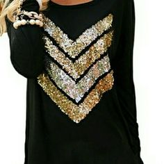 Sequin top! New, so cute! Great for the upcoming holidays! !  Runs pretty true to size,  would look great with a pair of leggings and boots! If you want it more of a looser look, go up a size :) available in sizes s, m, l, xl Tops Tees - Long Sleeve