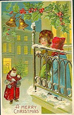 1907 Fur Coat Santa Claus with Children Postcard