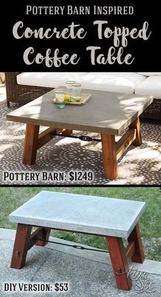 A pottery Barn concrete topped table knock off.  Save more than 1200 DIYing this simple to build outdoor table!