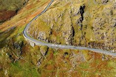 Aerial view of the precariously clinging to the side of Bwlch y Gwyddel, just South East Pen y Pass. Wales Uk, North Wales, Snowdonia, Cymru, Secret Places, Aerial View, Roads, Fathers, Places To Travel