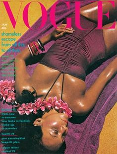 Vogue UK, January 1975. Model Marie Helvin photographed by David Bailey in Australia; the cover is a visual play on 'Down Under'.
