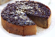 Cardamom and ginger cake with Earl Grey pomegranate syrup