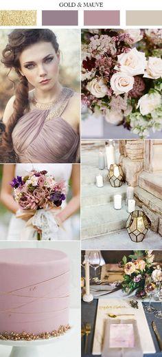 elegant gold and mauve lilac gray wedding colors