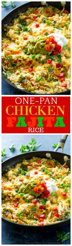 One-Pan Chicken Fajita Rice - an easy Mexican dinner read in under 30 minutes. the-girl-who-ate-everything.com