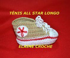 CROCHE PARA CANHOTOS - LEFT HANDED CROCHET - TÊNIS ALL STAR LONGO EM CROCHE  CANHOTAS 3486aaf8b30