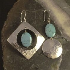 Turquoise and Sterling Silver Earrings Hammered Dangle