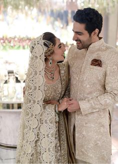 Check out these color coordinated Pakistani couples who rocked their wedding look by donning matching outfits. Pakistani weddings at ShaadiWish. Pakistani Wedding Outfits, Pakistani Dresses, Pakistani Suits, Groom Wear, Groom Outfit, Latest Bridal Lehenga Designs, Lehenga Images, Couple Wedding Dress, Pakistan Wedding