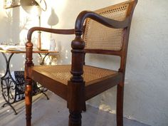CANE & WOOD Arm Chair w/Walnut British Colonial Style, Wood Arm Chair, Me Clean, Wishbone Chair, Dark Wood, Armchair, Modern, Furniture, Home Decor