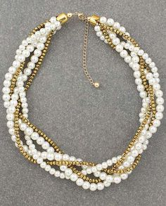 Pearl Statement Necklace from EarringsNation Gold Weddings Multi strands pearl necklace twisted pearl necklace