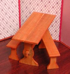 Old fashioned trestle table curly wood by AuntElliesMiniatures