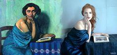 """Pintura: """"La Retour de la mer"""", Félix Valloton, 1924 Fotografía: Anie Leibovitz. Modelo: Jessica Chastain Moda: Alexander Wang Vogue EEUU, 2013 vía Historia de la Moda y los Tejidos"""