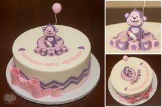 Pink and purple monkey baby shower cake.
