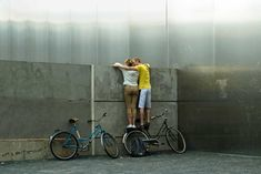 Visitors peer over wall Germany Berlin, Berlin Wall, Europe, Travel, Viajes, Destinations, Traveling, Trips, Tourism