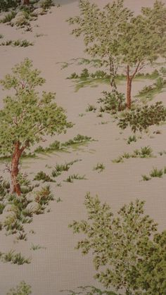 Vintage Wallpaper  Trees Outdoors Green Brown by coleuscottage, $8.00