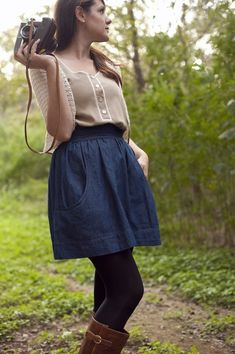 We love this denim skirt with pockets!