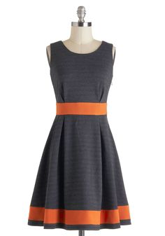 Beyond the Tea Time Dress - Mid-length, Grey, Orange, Casual, A-line, Sleeveless, Vintage Inspired, Colorblocking