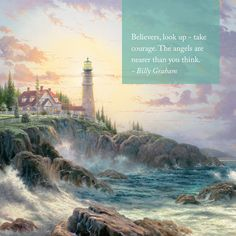 "Sunday Inspiration. ""Share the Light"" ""Clearing Storms"" – Thomas Kinkade – 1997 #thomaskinkade #inspirationalquote #inspiration #quote"
