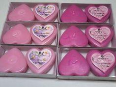 6 x DOPPEL HERZ Schwimm Kerzen Set -  3x rosé und 3 x Pink - Deko