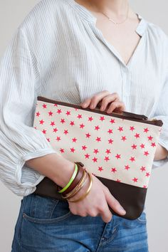 Watermelon Stars Clutch, Hand Printed Canvas, Leather Details. via Etsy.