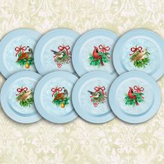 """Набор (4 тарелки) : """"Рождественские птички"""" Размер: 21 x 21 см"""