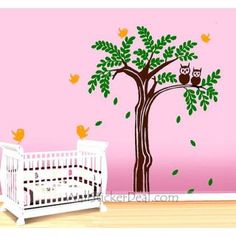 Lovely Owl on the Tree Wall Sticker
