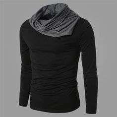 2015 New Arrival T shirt Men Fashion Solid Color Slim Fit Cool Long Sleeve Black T-shirt Men Tshirt Hip Hop Camisa Masculina T45