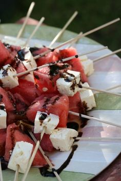 watermelon and feta skewers with balsamic sauce drizzle
