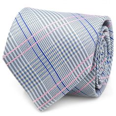 Silk Tie in a Blue and Pink Glen Plaid