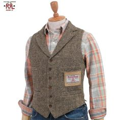 "abjnuts: RRL (double RL) The ""Harris Tweed"" Vest double are L Harris Tweed best Casual Wedding Attire, Wedding Suits, Wedding Vest, Tweed Vest, Harris Tweed Waistcoat, Estilo Denim, Outfits Hombre, Sharp Dressed Man, Gentleman Style"