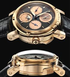 This is the Louis Moinet Magistralis. I'm not in love with the look of this watch but the story is one of my favorites. Besides consisting of 18 carat gold and lamb skin leather, it is also made of 2000 year old moon meteorite! Just walking around telling people the time on your space rock watch.