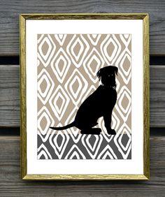 Labrador Retriever Art Print on hand drawn ikat Background, Modern Wall Decor, Black Labrador Retriever Gift