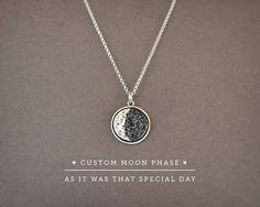Do you remember a day as the most special and want to keep it next to your heart? Perhaps the day you became parents? Or want to give your sister her birthdays moon as a gift? Keep forever the night you first kissed with the love of your life? Id look up how was the moon on that night on that place, and craft this necklace with the moon phase customized according to your special date! ...  Specifications>  ☞ Materials> Sterling Silver 925 Pendant, Sterling Silver 925 Chain ☞ Measurements…