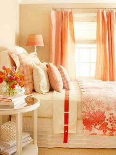 Coral bedroom for the guest bedroom. colors are always great for a guest room just because it's not a color and room you have to wake up to every morning Coral Bedroom, Dream Bedroom, Home Bedroom, Bedroom Decor, Peach Bedroom, Pretty Bedroom, Salmon Bedroom, Tangerine Bedroom, Girls Bedroom
