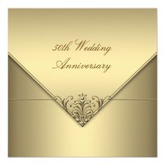 Custom Elegant Simple Pure Gold Wedding Anniversary Personalized Invite created by InvitationCentral. This invitation design is available on many paper types and is completely custom printed. 50th Wedding Anniversary Invitations, 50th Birthday Party Invitations, Simple Wedding Invitations, Anniversary Parties, Custom Invitations, Anniversary Ideas, Anniversary Cards, Invites, Pure Products