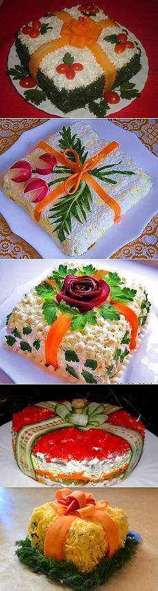 "Comestíveis ""presentes"" de Natal: saladas e lanches como presentes / Receitas simples # Easy Recipes salad Кулинария-закуски Cute Food, Good Food, Yummy Food, Food Garnishes, Garnishing, Food Carving, Sandwich Cake, Veggie Tray, Food Decoration"