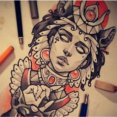 Female ink illustration portrait Indian inspired by vitaly morozov