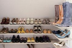 I need organisation for my shoes like this too! Shoe Shelves, Shoe Storage, Deep Closet, Scarf Organization, First Girl, Master Suite, Organizing, Jewerly, House Design