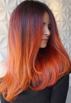 63 Hot Red Hair Color Shades to Dye for: Red Hair Dye Tips & Ideas Hair Color Auburn, Hair Color Purple, Hair Color Highlights, Hair Color For Black Hair, Brown Hair Colors, Red Colour, Orange Hair Dye, Dyed Red Hair, Orange Ombre