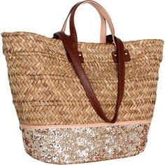 Straw & Sequin Beach Bag