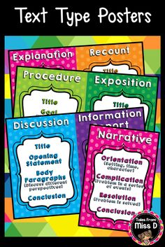 These 7 Text Type Posters come in a variety of polka dot colours. Recount Writing, Teaching Writing, Poster Text, School Goals, Teaching 5th Grade, Authors Purpose, Type Posters, Reading Groups, Types Of Text