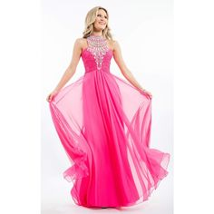 Rachel Allan 7259 Sweet 16 Long Halter Sleeveless (26.080 RUB) ❤ liked on Polyvore featuring dresses, gowns, formal dresses, fuchsia, long evening dresses, pink dress, long formal dresses, pink formal dresses and pink ball gown
