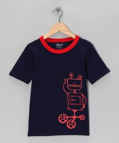 Take a look at this Navy Robot Tee - Toddler & Boys by Deezo on #zulily today!